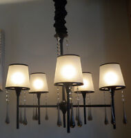 CLASSY 5 LIGHT CHANDELIER WITH UNIQUE VINTAGE CRYSTALS