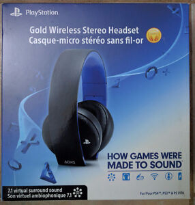 BNIB PlayStation 4 Gold Wireless Stereo Headset