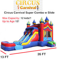Bouncy Castles, Obstacle, Water Slide, Tents, Fun Food, Costumes
