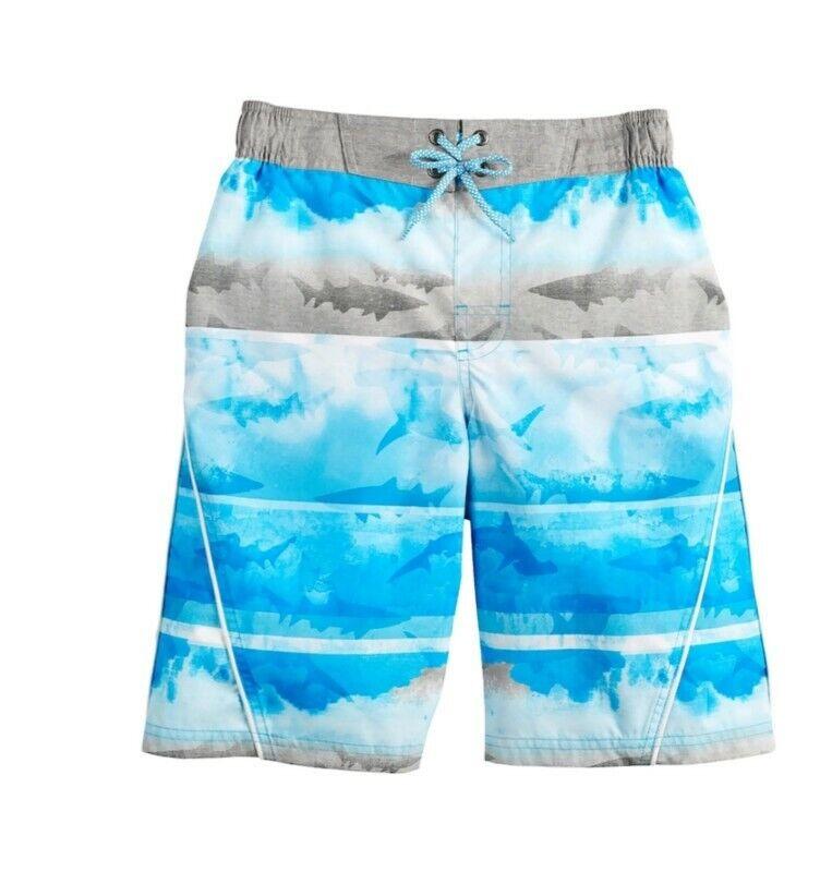 Boys ZeroXposur Washed Ashore Surf Swim Shorts Beach Blue Ocean Shark  XL 18/20