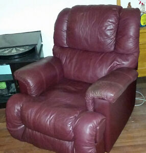 Burgundy Plush Leather Recliner