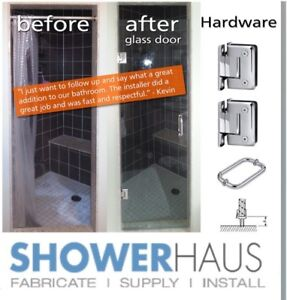 Frameless glass shower doors, starting at $ 239.00 incl.hardware