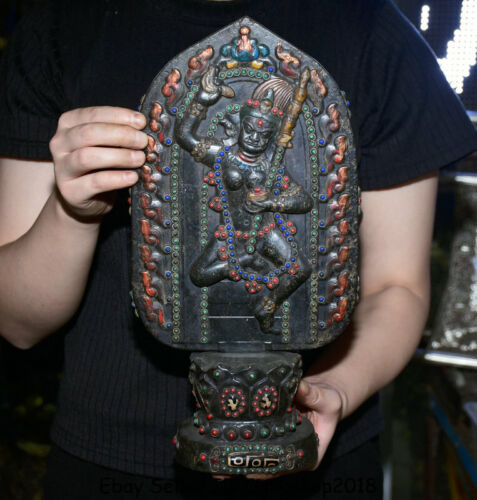 """14""""HongShan culture jade(black magnet) Inlay Gem Vajravarahi Dorje Phakmo Statue"""