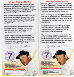 Lot de 2 Mickey Mantle - Cartons pour sa fondation 1995-96