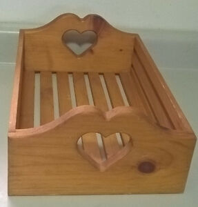Wooden Tray with Heart handles Serving Tray Dining/ Breakfast