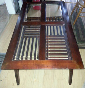High End Coffee and 2 Matching End Tables with glass inserts