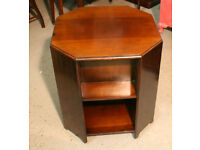Side Table on Casters - Wooden with Storage - Books CD