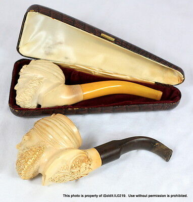 LOT 2 VINTAGE CARVED SULTAN Smoking PIPE Pipes w/ 1 Case VERY DETAILED!