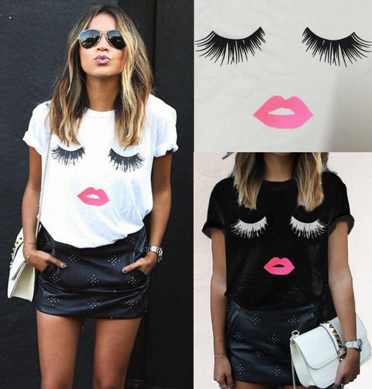 6b5c18ec70 Details about Hot Fashion Womens Ladies Eyelash Summer Loose Tops Short  Sleeve Blouse T-Shirt