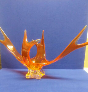 Vintage Art glass  Canadian free form center piece/ vase
