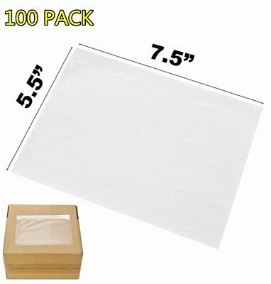 100x 7.5x5.5 Clear Packing Invoice List Pouches Shipping Label Envelope Adhesive