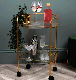 GOLD 2 TIER DRINKS TROLLEY NEW AND BOXED