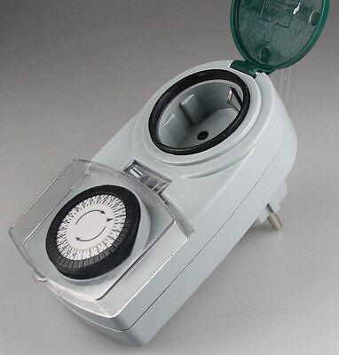 analoge Zeitschaltuhr Innen + Außen IP44 Drehschalter Kinderschutz 230V 3500W