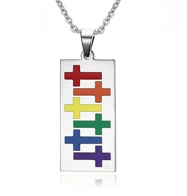 Gay Lesbian Rainbow Cross Religious Rectangle Stainless Steel Pendant Necklace