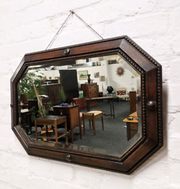 Vintage Oak Framed Wall Mirror (DELIVERY AVAILABLE)