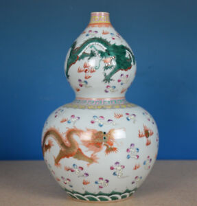 FINE HAND PAINTED CHINESE FAMILLE ROSE PORCELAIN VASE MARKED