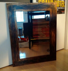 Contemporary Rectangular Brown-Bronze Rustic Wall Mirror