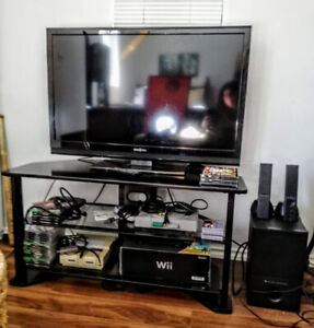 TV Entertainment Stand with Glass Shelves