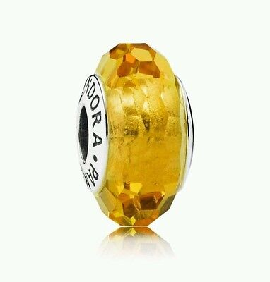 Pandora Murano Glass Charm Golden Faceted Bead Silver s925 Ale 791629 New
