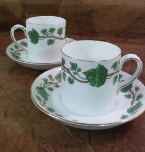 2 Crown Staffordshire Fine China Demi-tasse Ivy Cups and Saucers