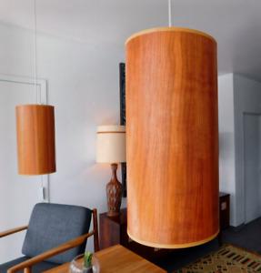 Vintage Pair Mid century Teak Pendant lights