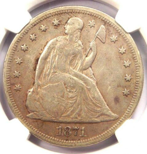 1871 Seated Liberty Silver Dollar $1 - Certified NGC XF Detail - Rare Date Coin!