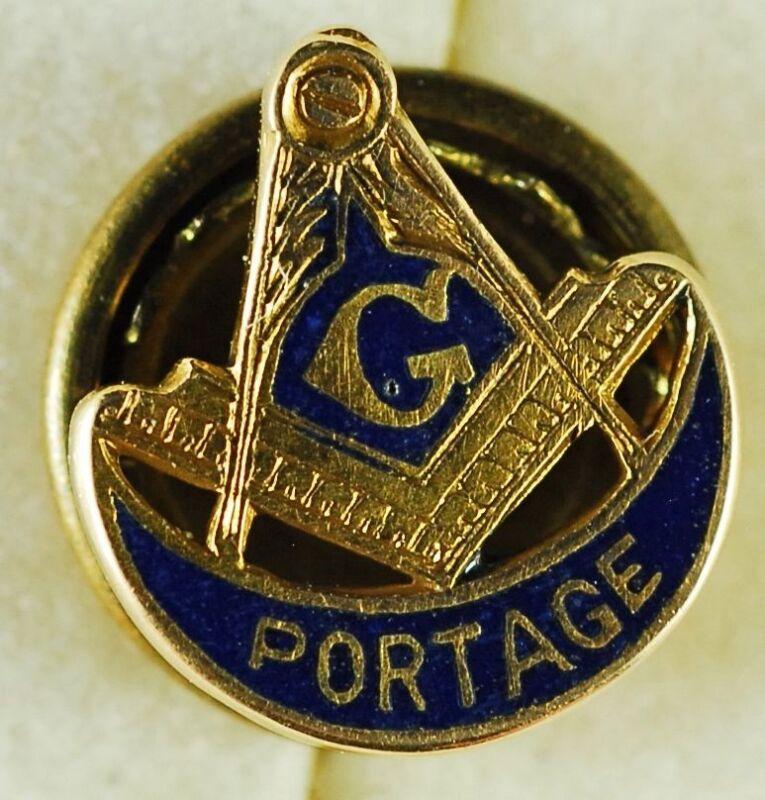 Masonic 10k Screwback Lapel Pin, PORTAGE, 10K Yellow Gold,  Blue Enamel,  #A89