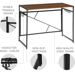Easy Assembly Wooden Standing Desk with Steel Legs 100x50x75cm