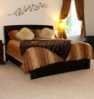 King Size Dark Wood Bed Frame with Mattress and Box Spring