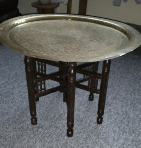 Middle Eastern Brass Tray Table (One of a Kind)