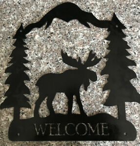 Moose Welcome Metal Art/Gate or Fence Insert Sign