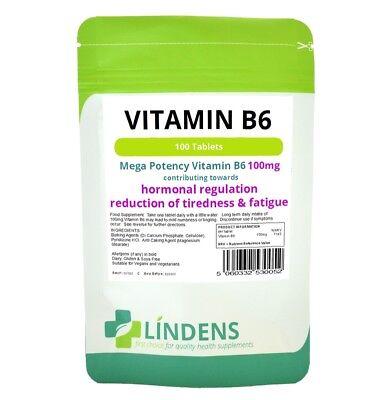 Lindens Vitamina B6 100 mg 100 al giorno 1 Compresse B-6 B 6