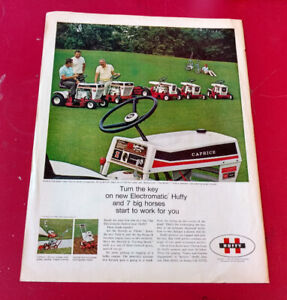 VINTAGE 1969 HUFFY RIDING LAWN MOWERS ORIG AD - ANNONCE 60S