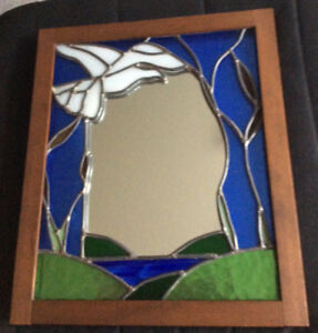 Mirror with stain glass