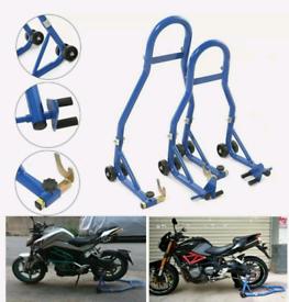 Motorcycle Motorbike Front fork & Rear Wheel Vee Paddock Stands