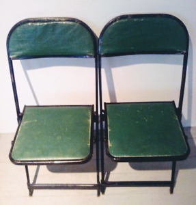 c.1910 FOLDING CHAIRS Metal GREEN Antique Vintage