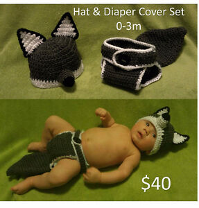 Crochet hat, diaper cover, slouchy, EOS holder, baby items London Ontario image 1