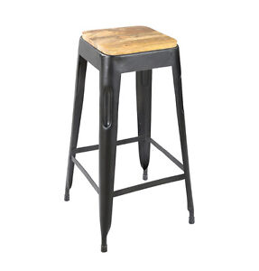 Tolix Style Bar Stool Iron Wooden Seat Tabouret Bar Industrial