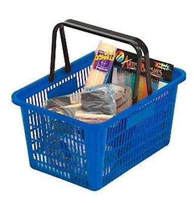 5 Shopping Basket Break-resistant Plastic - Plastic Handles Blue