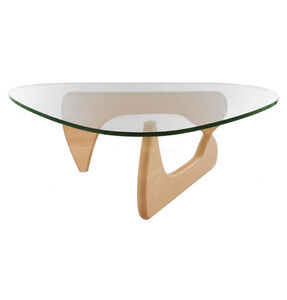 Noguchi Style Coffee Table Mid-Century Glass Wood Bois Verre