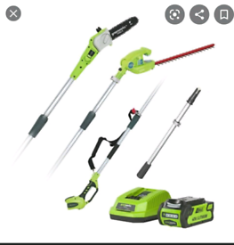 Greenworks battery powered garden tools with grass trimmer hedge trimm
