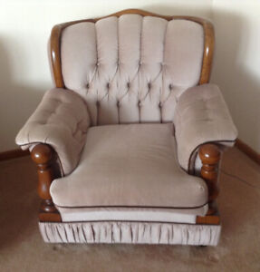 SOFA LOVESEAT & CHAIR. Matching Solid wood trim. Great shape!