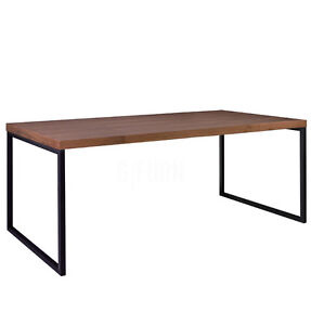 8 Seater Wood Metal Dining Table Diner Bois Scandinavian Modern