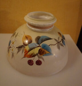 4U2C HAND PAINTED OIL LAMP SHADE REPAIRED CHIP ON TOP RIM