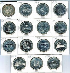 Canada silver dollars 1971-1989