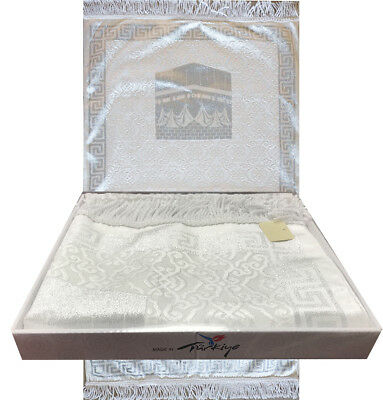 Turkish Islamic Janamaz Luxury Thin Velvet Prayer Mat Gift Box Kaba Silver White