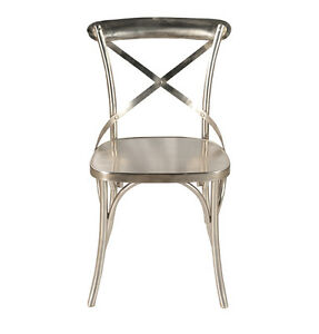 X Cross Back Dining Chair Iron Industrial Chaise Diner Metal