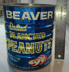 Vintage 3 1/2 lbs BEAVER SALTED BLACNHED PEANUTS Blue Litho Tin