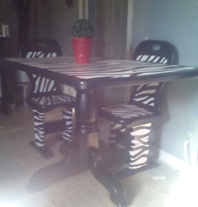 Zebra print pedestal dining table and 4 chairs $120 obo