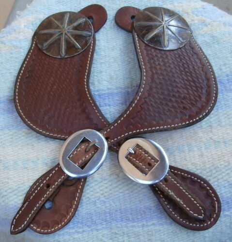 Basket Stamp Spur Straps with 2-1/2 in. Antiqued Conchos